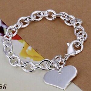 Women's heart 925 stamped link bracelet